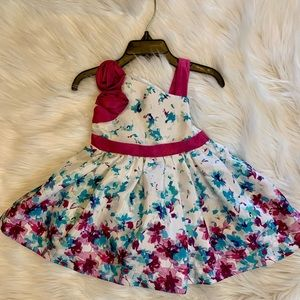 Single strap/sleeve floral print toddler dress